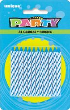 Blue Striped Birthday Cake Candles 24 Pack